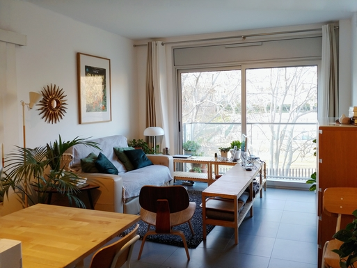 Living-dining room with views towards a leafy park