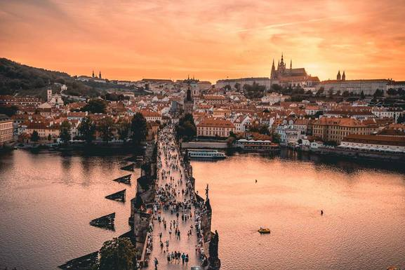 Medieval Charles Bridge and Prague Castle