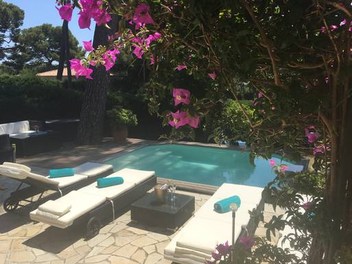 Private refreshing plunge pool and loungers