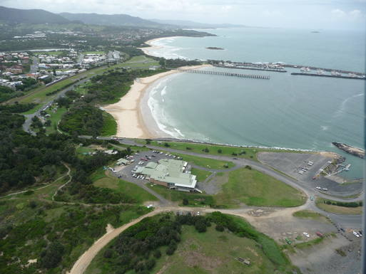 Aerial view of Coffs Harbour coastline