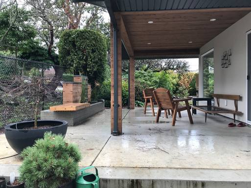 Covered patio with water feature - in January!