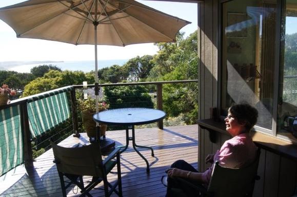Home exchange in,Australia,VALLA BEACH,Daphne on upstairs deck overlooking Pacific Ocean