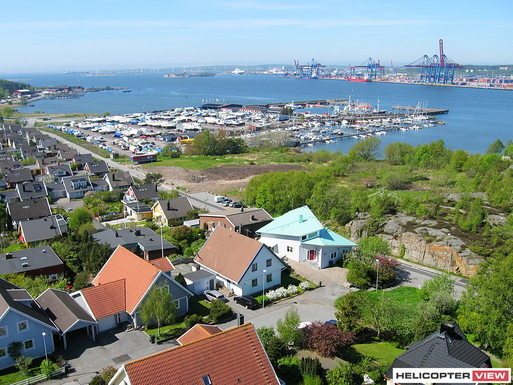 Tångudden harbour and our house.