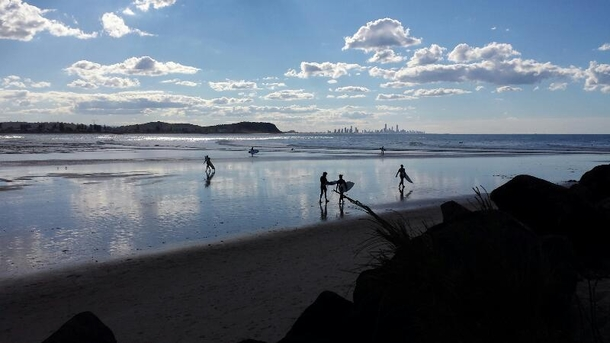 Home exchange in,Australia,Currumbin Waters, Gold Coast,The view of the nearby surf which is reachable by