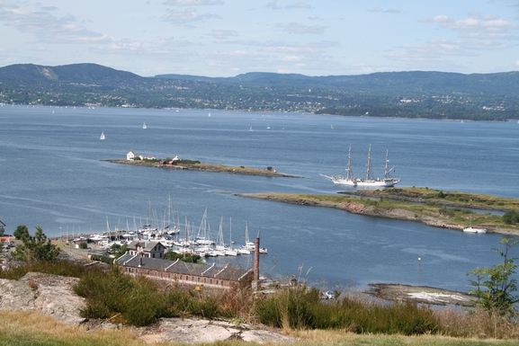 BoligBytte til,Norway,Oslo, 20k, S,View from our terrace; sailship Christian Radich