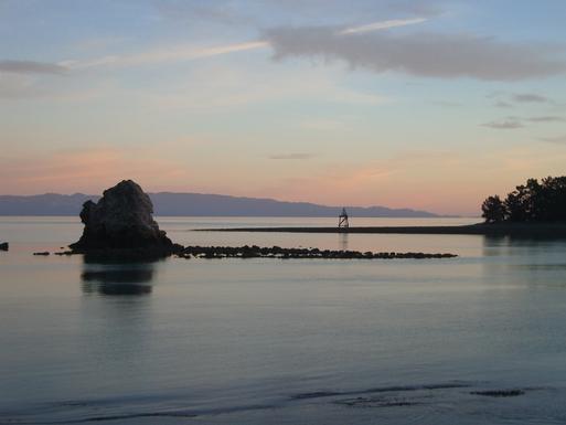 BoligBytte til,New Zealand,Nelson,Evening light on Fifeshire(Arrow) Rock, Rocks Road