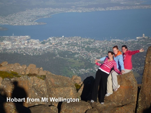 Home exchange in,Australia,BLACKMANS BAY,Hobart from Mt Wellington with Irish visitors