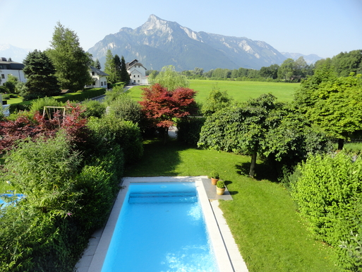 Home exchange in,Austria,Salzburg,Upstairs view of Untersperg mountain and pool