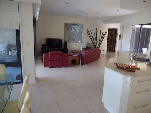 Home exchange in,Australia,Banksia Beach, Bribie Island,Open plan living area - canal views to the left.