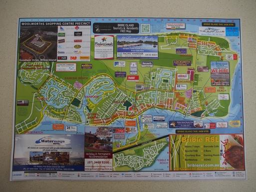 Home exchange in,Australia,Banksia Beach, Bribie Island,A map showing the developed part of Bribie Island
