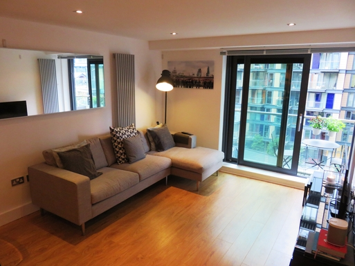 Our nice comfy sofa with views on to Millwall Dock