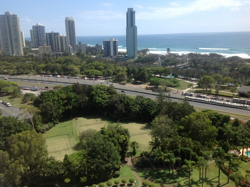 Home exchange in,Australia,Surfers Paradise,From deck beach across rd