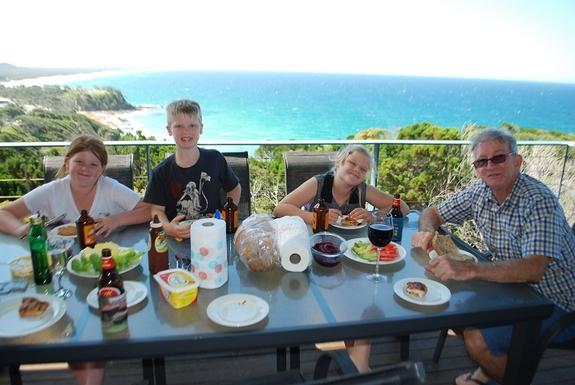 Home exchange in,Australia,Coolum Beach,Enjoy lunch on the deck