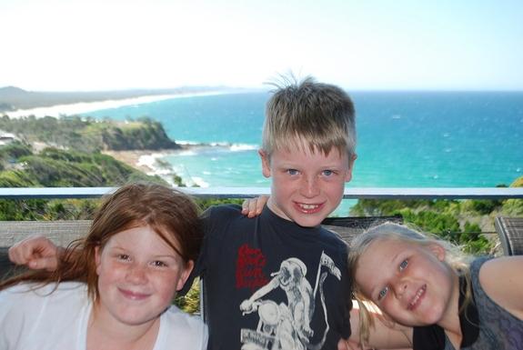 Home exchange in,Australia,Coolum Beach,Sinead, Mikaela and Eddie enjoying the sunshine
