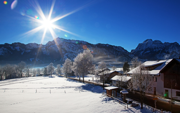 Home exchange in,Germany,Schwangau,view balcony - Alps in winter