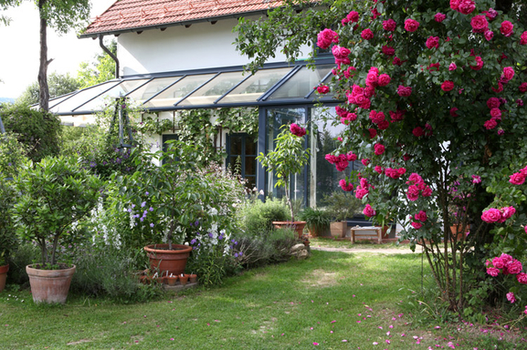 conservatory and entrance to the  garden