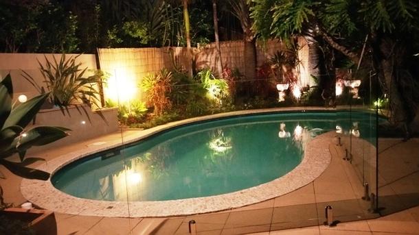 Home exchange in,Australia,BUDDINA,Pool at night