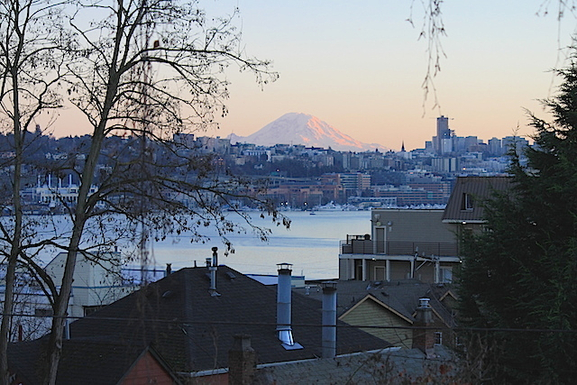 View of Mount Rainier and Lake Union from our deck