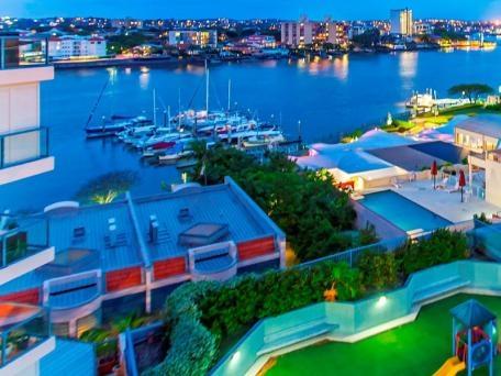 Home exchange in,Australia,Brisbane CBD,,Balcony View of Dockside Marina and Brisbane River