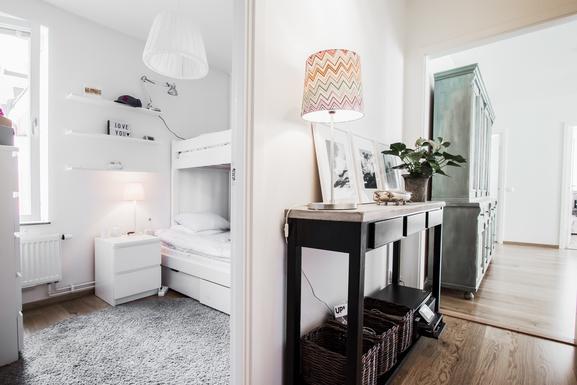 BoligBytte til,Sweden,Stockholm,Hall and bedroom with bunkbed