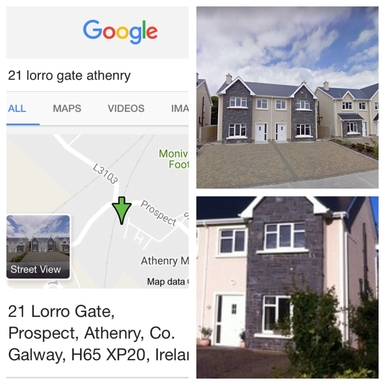 Front of house, with exact address