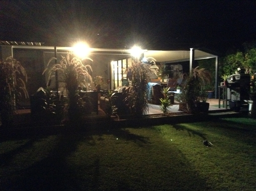 Home exchange in,Australia,Cornubia,View of back of house at night