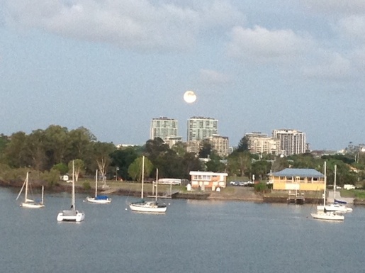 Home exchange in,Australia,Brisbane,View across river to sailing club