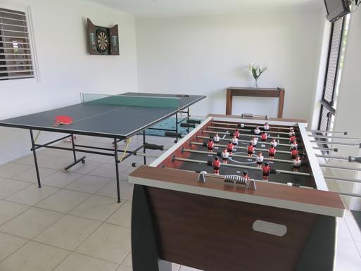 Home exchange in,Australia,peregian springs,Games room - darts, table football, ping pong, TV