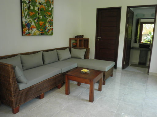 Home exchange in,Indonesia,Legian,Livingroom with TV ; small Bathroom