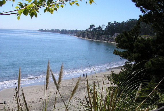 Park view of beach looking north toward Capitola