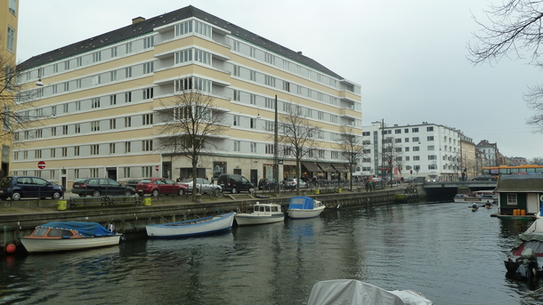 Our apartment house. Our flat is facing the canal