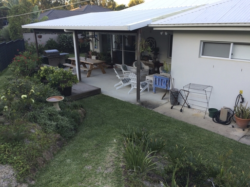 Home exchange in,Australia,POTTSVILLE,View to back undercover area.