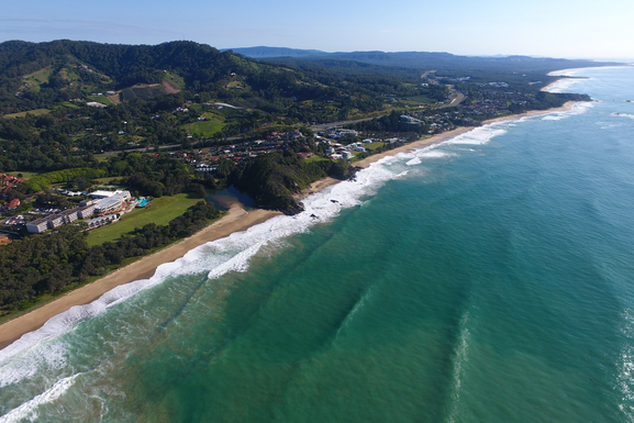 Home exchange in,Australia,KORORA,Looking north. Opal Cove Resort & Sapphire Beach.