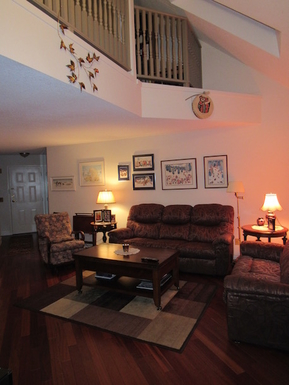 Home exchange in,Canada,Whitehorse,Living Room open to second floor