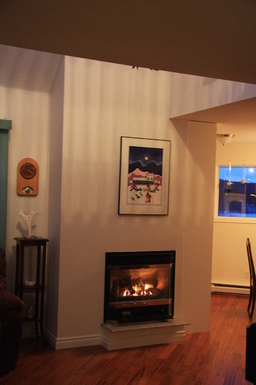 Home exchange in,Canada,Whitehorse,Fireplace looking towards dining room