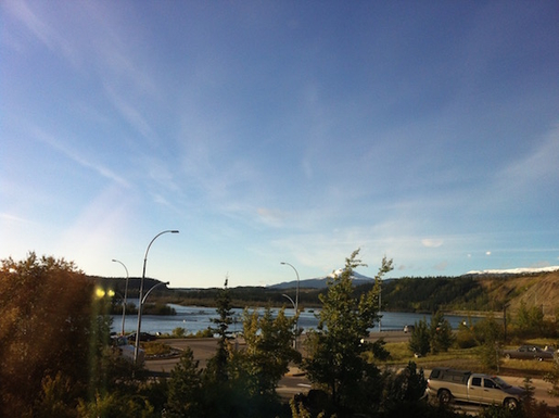 Home exchange in,Canada,Whitehorse,Yukon River view from dining room windows