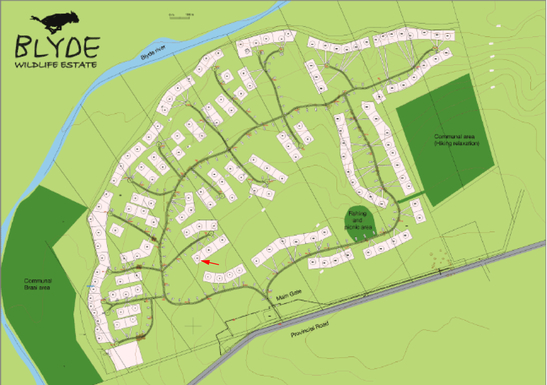 BoligBytte til,South Africa,Hoedspruit,Map of the estate and location of my house - no 33