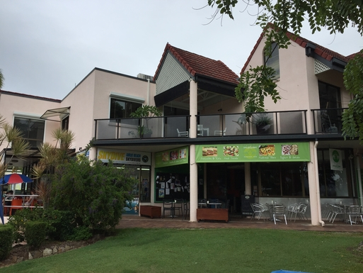 Home exchange in,Australia,Airlie Beach,The veranda above coffee shops facing the water