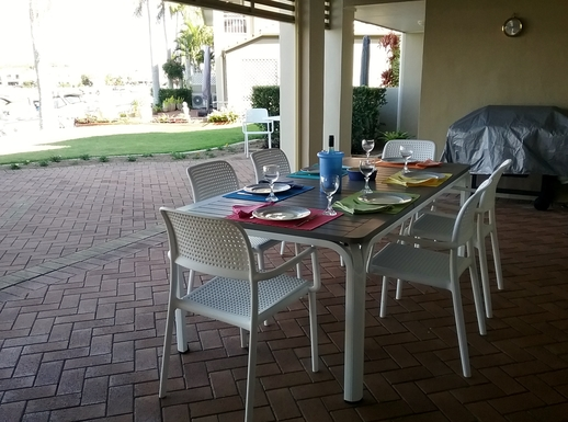Home exchange in,Australia,RUNAWAY BAY,The outdoor entertaining area with barbecue