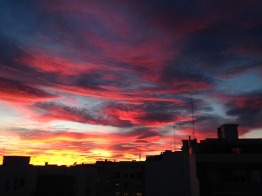 BoligBytte til,Spain,Madrid,View of the skyline at sunset from the terrace