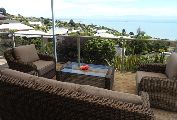 BoligBytte til,New Zealand,Nelson,Deck with shade cloth overlooking Tasman Bay