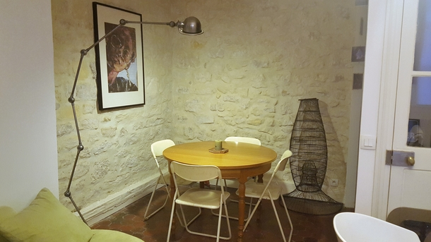 The dining room, 18th century stone wall