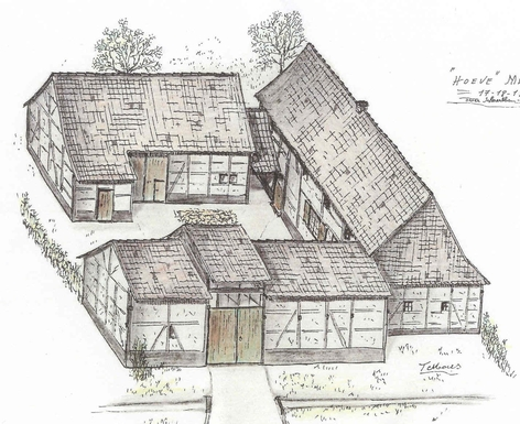 Old drawing of the original farmhouse