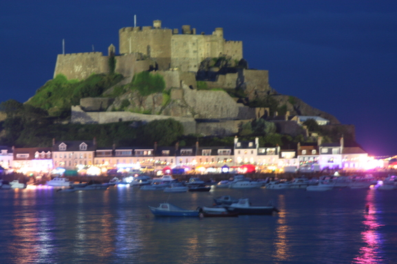 Home exchange in,Jersey,Jersey,Our view-Gorey Castle which is lit up every night
