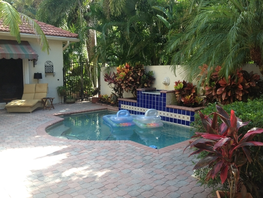 """Private courtyard with """"splash pool"""""""