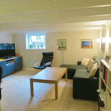 BoligBytte til,Norway,Bærum,Livingroom/playroom with sleeping couch.