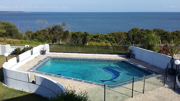 Home exchange in,Australia,SANDSTONE POINT,Swimming Pool View as taken from overcovered dec