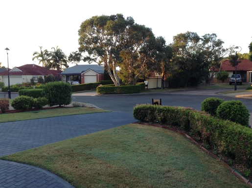 Home exchange in,Australia,Cornubia,View to the street from the front garden