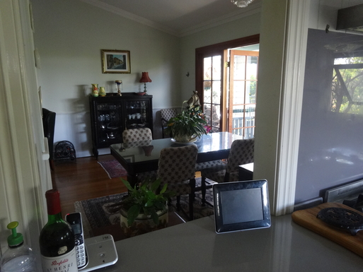 Home exchange in,Australia,WINDSOR,View through kitchen servery to dining room