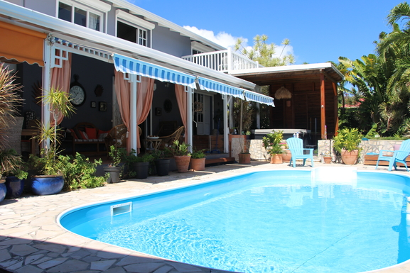 Koduvahetuse riik Guadeloupe,Le Gosier, 2k, E, Grande-Terre,Beach Cottage pool spa walking to beach,Home Exchange Listing Image